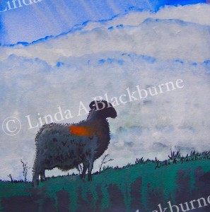Sheep at Twilight, Spaunton Moor